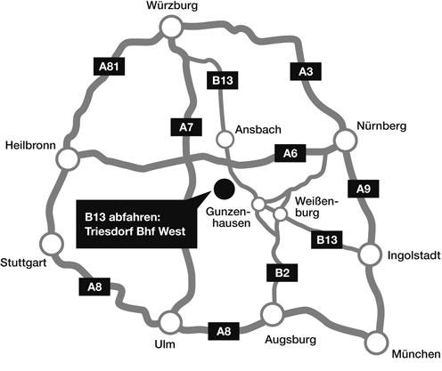 Anfahrt zu Alpha Stone Merkendorf Naturstein