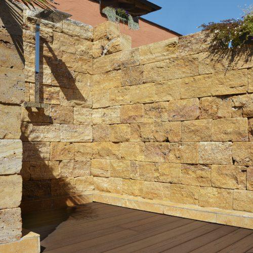 Mauersteine Travertin Gelb in 15 cm Schichthöhe